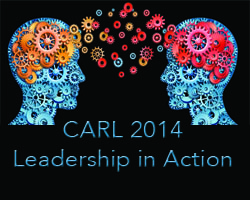 CARL Conference 2014 logo two human brains exchanging flying cog wheels