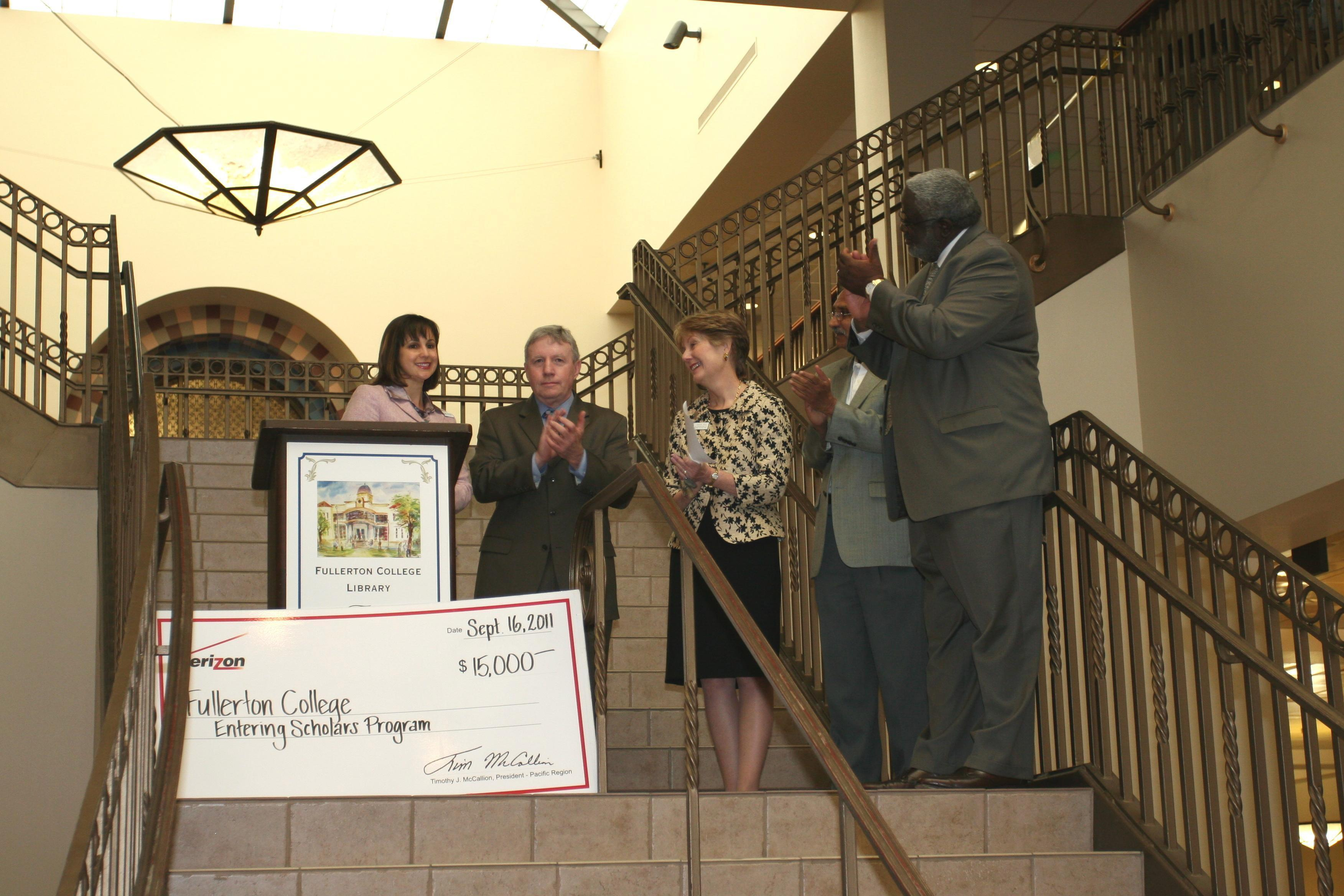 The Fullerton College Library Received A $15,00000 Grant Check From  Verizon At A September Soir�e In The Library Lobby